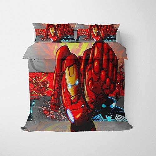 Gvvseso Moderno Juego de Cama de Funda nórdica 3 Pieces 135x200cm 3D Imprimir Cama Funda de Almohada Ropa de Cama Decoración de la habitación Héroes de la película roja