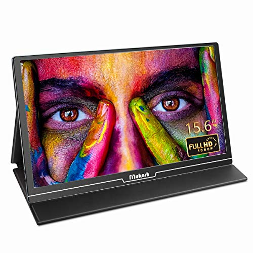 Mukesh Portable Monitor – Upgraded 15.6 Inch Second Computer Display 1920 x 1080 Full HD IPS Screen USB C External Monitor with Type-C HDMI for Laptop MAC Xbox Phone, Include Smart Cover