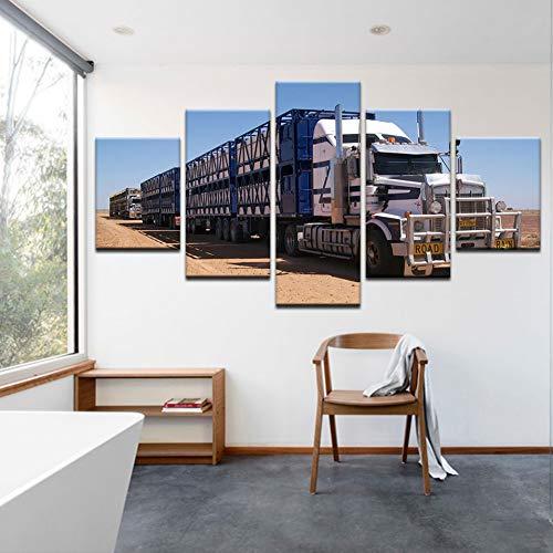 TBDZPS 5 Panel Wandkunst Leinwand Gemälde LKW Auto Seitenansicht Bagger Bild Drucken Wohnkultur Poster Für Wohnzimmer Modulare