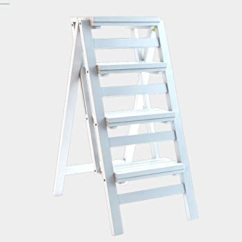 WCS Escalera multifunción Taburete Hogar Madera maciza IKEA Niños Silla plegable Provincia Espacio Escalera de cuatro pasos de doble uso Ascendente Escalera Color 42 × 67 × 92 cm (Color : White): Amazon.es: Bricolaje y herramientas