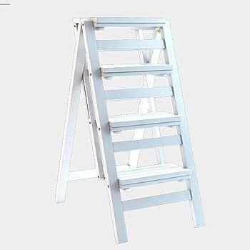 WCS Escalera multifunción Taburete Hogar Madera maciza IKEA Niños Silla plegable Provincia Espacio Escalera de cuatro pasos de doble uso Ascendente Escalera Color 42 × 67 × 92 cm (Color : White): Amazon.es: Bricolaje y herramientas