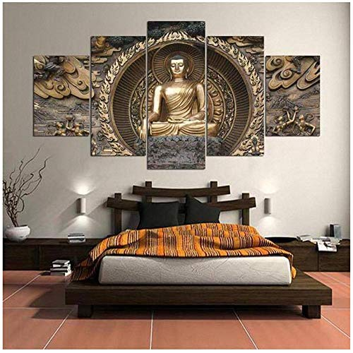 XIANGPEIFBH Modern Canvas Printed Poster Pictures 5 Piece Buddha Meditation Abstract Painting Living Room Decor-30x40cmx2 30x60cmx2 30x80cm