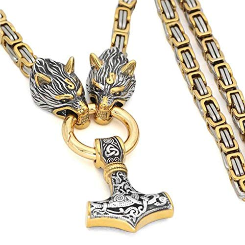 YABEME Mjolnir Norse Viking Thor's Hammer Pendant Necklace Wolf Head Fenrir Stainless Steel Gold Plated King Chain Celtic Pagan Rune Amulet Jewelry,27 inch