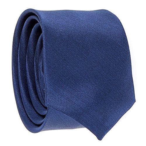 Cravate Fine Bleu foncé - Cravate Homme Coupe Slim Moderne - 5cm à la Pointe - Couleur Unie - Accessoire Chemise pour Mariage, Cérémonie