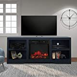 ENSTVER 58' TV Stand with Electric Fireplace,Fireplace Console,Storage Shelves Entertainment Center for Living Room,Black
