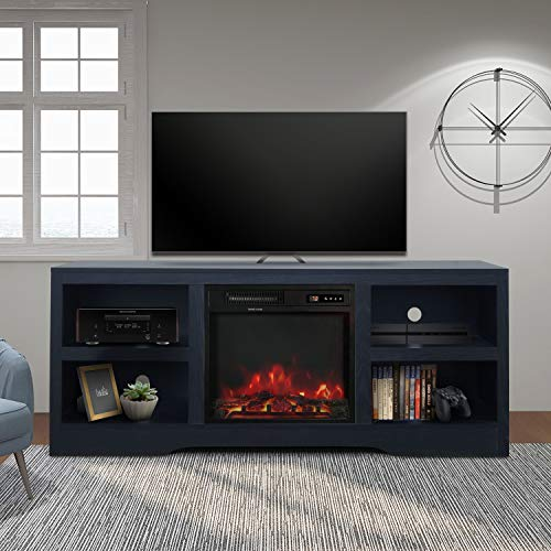 """ENSTVER 58"""" TV Stand with Electric Fireplace,Fireplace Console,Storage Shelves Entertainment Center for Living Room,Gray"""