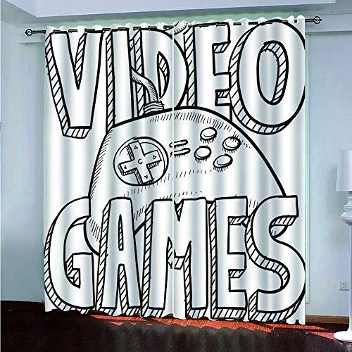 ERBWB Cortinas Opacas Termicas Aislantes Modernas con Ojales para Balcon Salón Habitación Dormitorio, 2 Paneles, Poliéster Videojuegos 2 x 85 x 200 cm