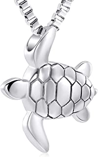 Sea Turtle Cremation Jewelry for Ashes Stainless Steel Keepsake Memorial Urn Pendant Necklace for Pet/Human