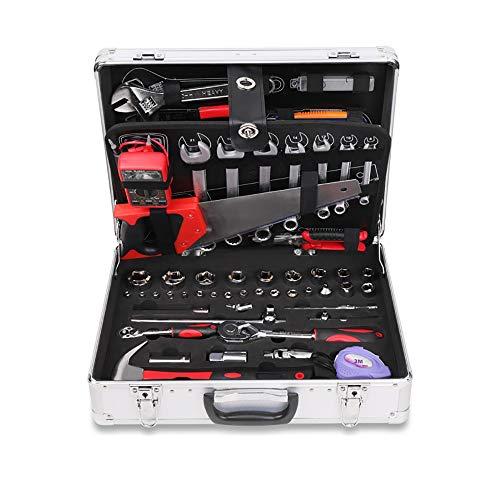 Caja de herramientas del vehículo Sistema de herramientas de la herramienta de mecánica doméstica de 112 piezas El kit de herramientas de la mano de la mano de la mano del hogar con la caja de almacen