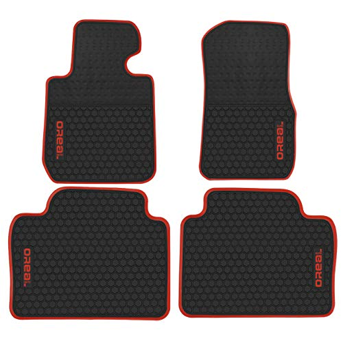 biosp Car Floor Mats for BMW 3 Series F30 320i 328i 335i 2012-2018 Front And Rear Heavy Duty Rubber Liner Set Black Red Vehicle Carpet Custom Fit-All Weather Guard Odorless