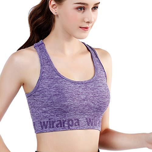 wirarpa Sports Bra for Women Medium Support Padded Yoga Workout Bra - Gym Activewear Bra Purple X-Large