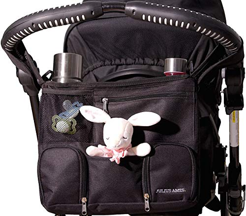 Julius Ames Baby Stroller Organizer Bag With Cup Holders For Moms | Holds Everything You Need | Perfect For Baby Showers | Universal Fit, 3 Insulated Pockets, Shoulder Strap, 2 Stroller Hooks | Black