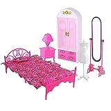 Gatuxe Juego de Muebles para casa de muñecas, Bonito y Hermoso Juego de Muebles de casa de muñecas de plástico de 2 Tipos, para Regalos de casa(Princess Room Set Without Doll, 12)