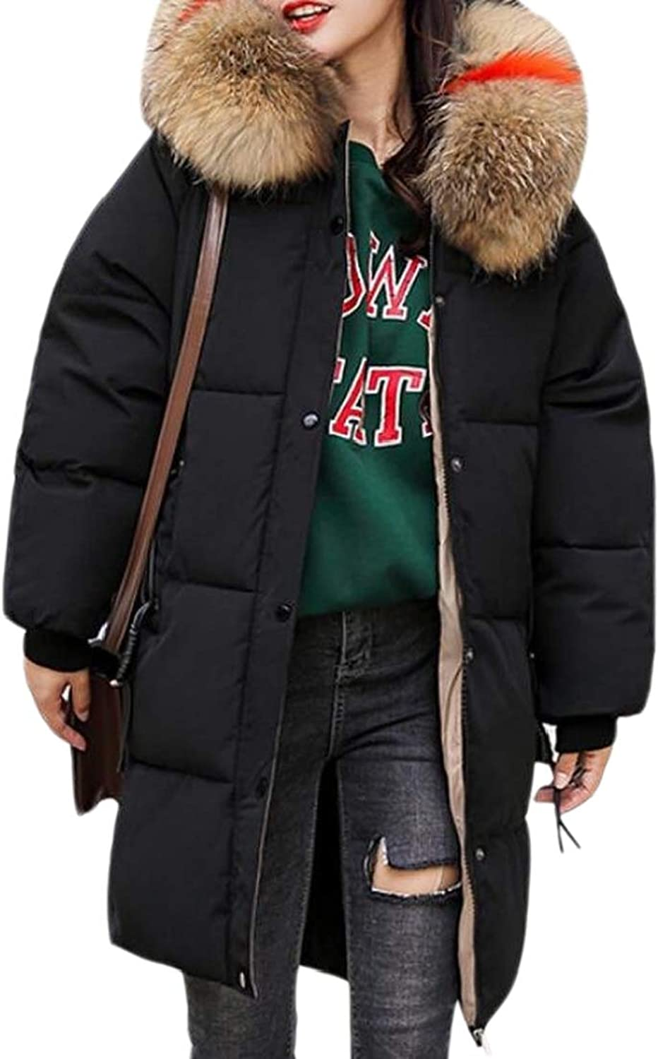 Generic Womens Winter Puffer Faux Fur Hooded Mid Length Parkas Down Coat