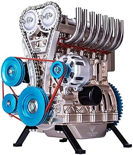 4 Cylinder Engine Model, 4 Cylinder DIY Assembly Inline Car Engine Model, 4 Cylinder Car Engine Kit Adult Model, Mini Inline 4-cylinder Car Engine Model for Adults