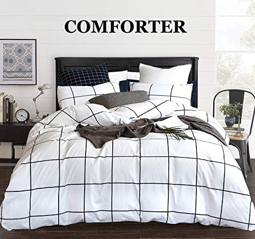 CLOTHKNOW White Plaid Comforter Sets Queen Black and White Bedding Sets Full for Boys Girls Women Men Big Grid Print White Comforter Sets with 2 Pillowcases (3Pcs, Queen/Full Size)
