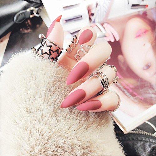 Valse nagels, 24 stuks/Box geometrie strepen patroon Decoratie Full Cover Kunststof Kunstmatige valse DIY Nail Art sarg & lijm voor vrouwen meisjes