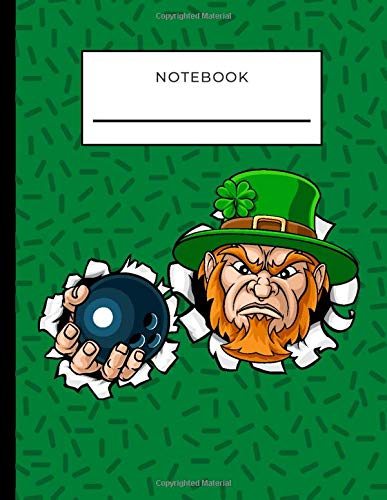 Notebook: Leprechaun with Bowling Ball on Green Cover / College Ruled 8.5x11 Letter Size / 120 Blank Lined Pages for Back To School / Work / Journaling / Writing / Note Taking