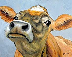 Cow Art Print, Jersey Cow with Nose Up in Air, on greyish blue background, Dairy Cow, Print of Original Painting by Dottie Dracos