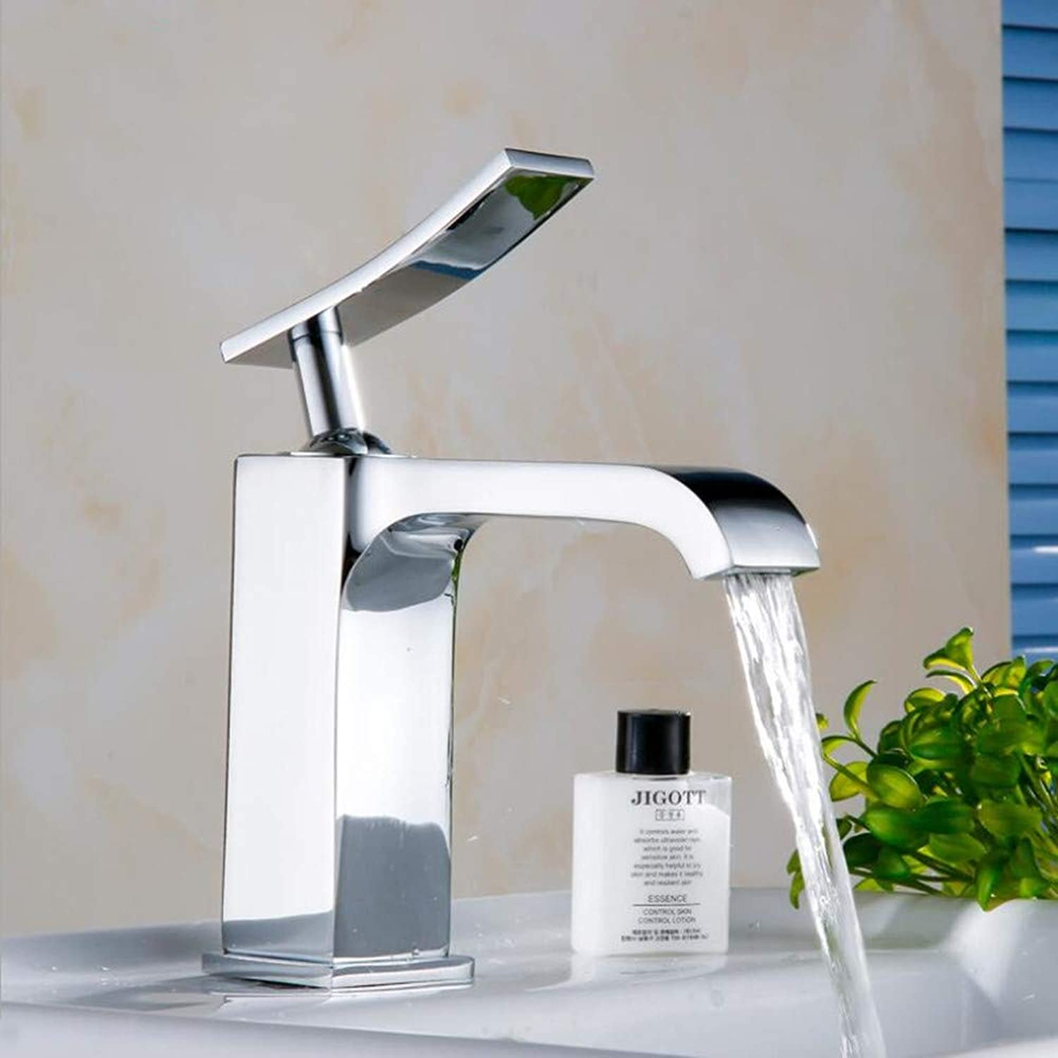 Ddl Kupfer Faucet Basin Single Square Faucet Basin Hot and Cold Faucet Single Handle Bathroom Sink Faucet, Waterfall Faucet, Chrome