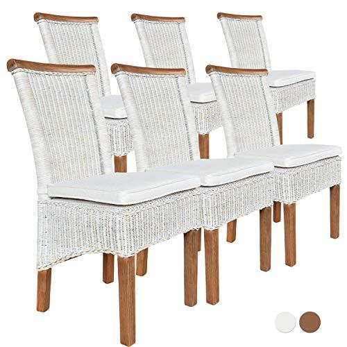 Esszimmer-Stühle Set Rattanstühle Perth 6 Stück weiß Sitzkissen Leinen weiß Farbe mit Sitzkissen