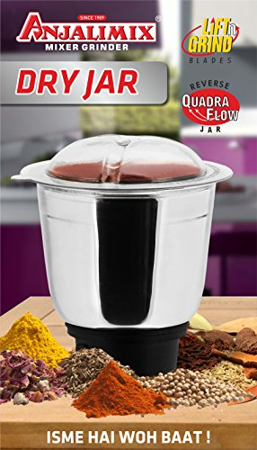 Anjalimix Delux Dry Grinding Jar (1 Ltr) For Chutneys, To Grind Spices,...