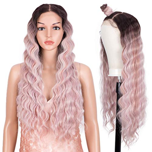 Style Icon Easy-360 Lace Wigs 13x6 Free Part Lace Frontal Pink Wigs 30Deep Wave Wig Synthetic Wig(30 Inch, TT4/AMBRS)