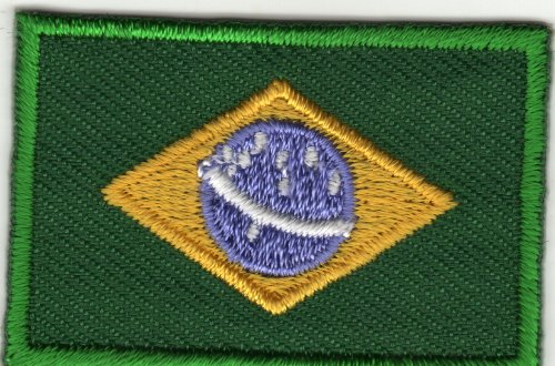 Aufnäher Bügelbild Applikation Iron on Patches Brasilianische Fahne Flagge Brasilien Brazil Klein