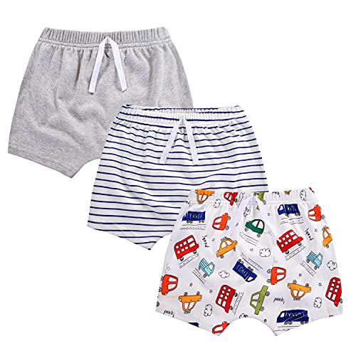 mini eggs Baby Mädchen Jungen Shorts Sommerhose kurz Hose 3er Pack Pull-on Baumwollshorts Baby Kinder Shorts Weich Freizeit Shorts(Wagen-24 Monate)