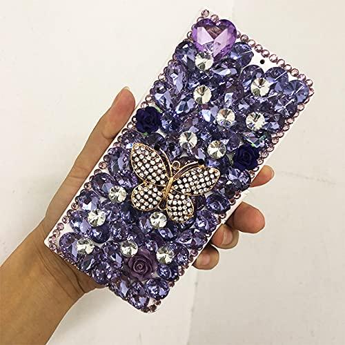 para iPhone XR Funda Billetera Mariposa PU Cuero Flores Diamante Soporte para Tarjeta Funda de Cuero para iPhone 6 6S Plus 7 8 X XR XS 11Pro 12, Morado Claro, para iPhone XR