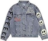 XLDD Men Graffiti Size Hip Hop Denim Jackets Male High Street Bomber Jacket