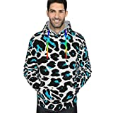 Graphic Hoodies for Men Cheetah Blue And Black Leopard Novelty Pullover Hoodie 3D Printed Cool Hooded Sweatshirts with Pocket, Casual Pullover for Men Youth Teens, M