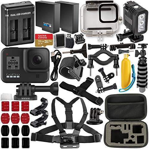 GoPro HERO8 Black with Deluxe Accessory Bundle – Includes: SanDisk Extreme 32GB microSDHC Memory Card, Spare Battery, Dual Battery Charger, Underwater Housing, LED Light & Much More