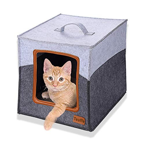Heuffe Katzenhöhle inkl. Kissen, Passend für z.B. IKEA® Kallax & Expedit Regal, Kuschelhöhle in Grau