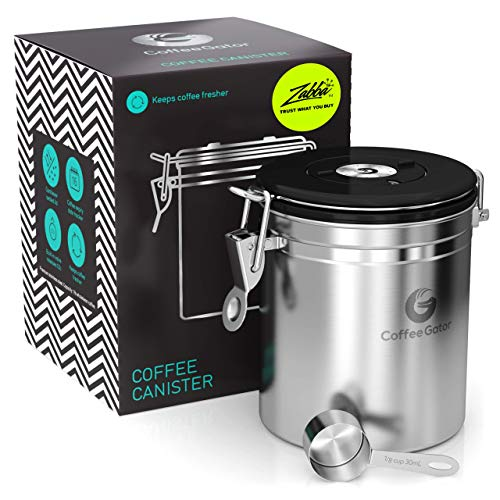 Coffee Gator Stainless Steel Coffee Grounds and Beans Container Canister with Date-Tracker, CO2-Release Valve and Measuring Scoop, Medium, Silver