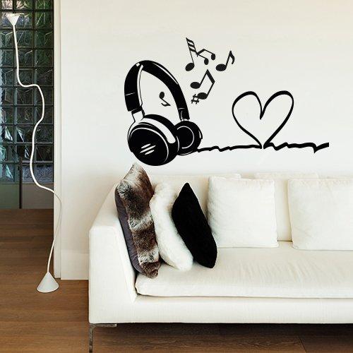 wall art Adesivo murale Cuffie con Cuore - Misure 80x41 cm - Decorazione Parete, Adesivi per Muro, Carta da Parati