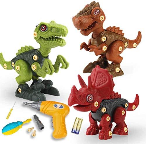 Yefun Take Apart - Juguetes de dinosaurios para niños, kit de juego de ingeniería de construcción con taladro eléctrico, regalos de juguete STEM para niños y niñas de 3 4 a 5 años de edad..