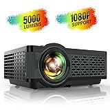 Proyector, TOPTRO 5000 Lúmenes Mini Portátil Proyector de Cine en Casa 720P Nativo Soporta Full HD 1080P con Altavoce HiFi, Cubierta de Metal, LED 60000 Horas, para TV...