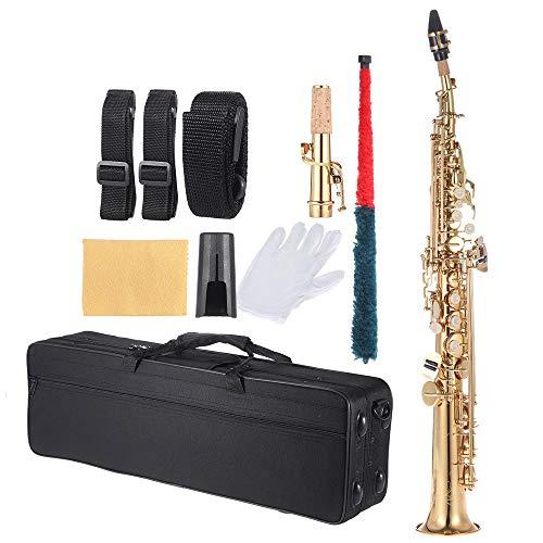 Straight Sopran Saxophon, Gerades Sopransaxophon Bb B Instrument aus flachem Messing, mit Tragetasche, Handschuhen, Schwamm, Reinigungstuch, Reinigungsstab