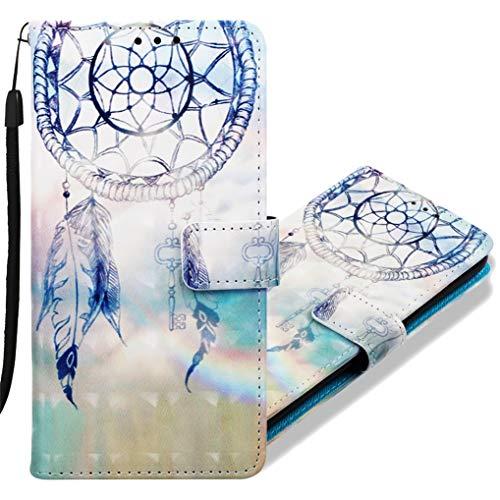 MRSTER Funda para Huawei P Smart+, 3D Moda Carcasa Libro Flip Case Antigolpes Cartera PU Cuero Funda con Función de Soporte para Huawei P Smart Plus/Nova 3i. YB Blue Dreamcatcher