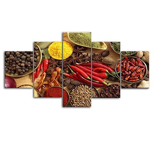 Holystep Bilder Wandbild Raumdekor Leinwandbilder Chili Spice Seasoning Gestreckt Und Gerahmt Fertig Zum AufhäNgen (30 * 40 * 2;30 * 60 * 2;30 * 80 * 1(cm))