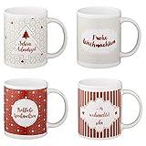 Weihnachtstassen mit apartem Design - Glühweintassen Set - Weihnachtsbecher Glühweinbecher Weihnachtsgeschirr Größe 36 Tassen