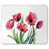 Mousepad Tulpe Mauspad Texturiertes Aquarell Blühender Pflanzenstrauß Natur Im Frühling Erwachen Wetter Mousepad Rutschfestes Rechteck Gummi 25X30Cm