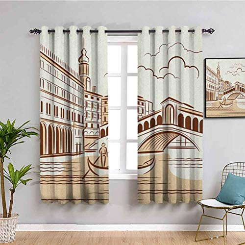 SONGDAYONE Venice Insulating Room Darkening Blackout, Curtains 63 inch length Stencil Art Display of Tranquil Venetian Landscape Bridge Buildings and Gondola Daily use Burgundy Cream W63 x L63 Inch
