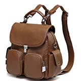 Backpack Purse for Women,VASCHY Anti Theft Cute Small Mini Convertible PU Leather Backpack Shoulder Bag for Ladies Teen Girls Brown