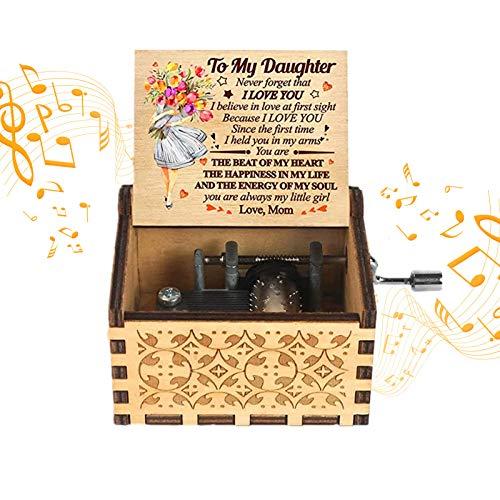 VZF Caja de música con manivela de Madera, Caja de música Vintage para mamá a Hija, Caja Musical Creativa Tallada Antigua, Regalos para cumpleaños/Navidad, decoración del hogar, Manualidades