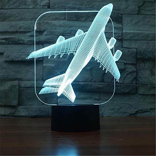 LBJZD luz de noche Lámparas De Mesa Para Sala De Estar, Novedad, Moderna Atmósfera De Avión Compacto, Lámpara De Escritorio De Noche 3D Con Control Remoto