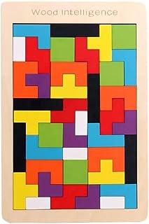 Zxq Tetris Building Blocks Puzzle Children 1-6 Years Old Baby Intellectual Development Boys and Girls Kindergarten Wooden Plane Puzzle Toys
