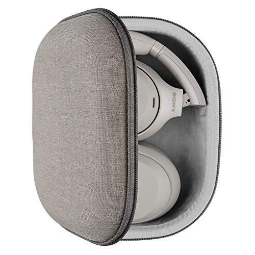Geekria UltraShell - Funda compatible con auriculares Sony WH-1000XM4, WH-1000XM3, WH-1000XM2, WH-XB900N, funda protectora de repuesto para viaje con almacenamiento de cable (marrón claro)