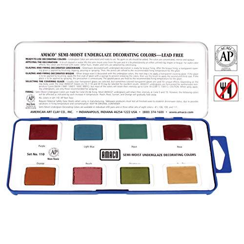 AMACO Non-Toxic Semi-Moist Underglaze Set - C in Pan, 1.5 oz, Assorted Color, 8 Color